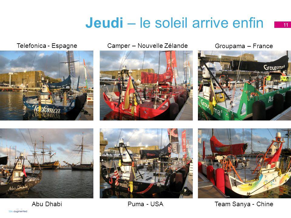 Jeudi – le soleil arrive enfin 11 Telefonica - Espagne Camper – Nouvelle Zélande Groupama – France Abu DhabiPuma - USATeam Sanya - Chine