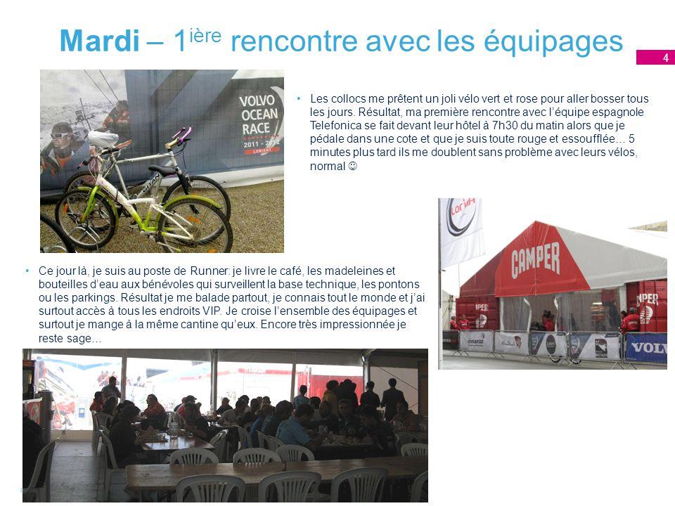 Mardi – 1 ière rencontre avec les équipages 4 Les collocs me prêtent un joli vélo vert et rose pour aller bosser tous les jours.