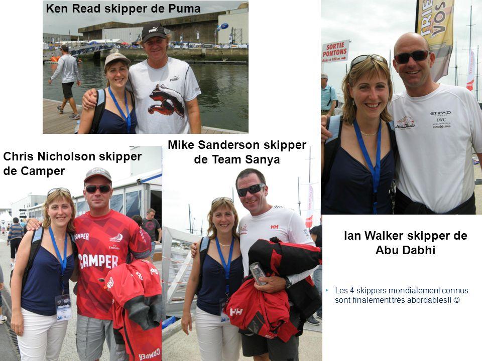 8 Ken Read skipper de Puma Mike Sanderson skipper de Team Sanya Chris Nicholson skipper de Camper Ian Walker skipper de Abu Dabhi Les 4 skippers mondialement connus sont finalement très abordables!!