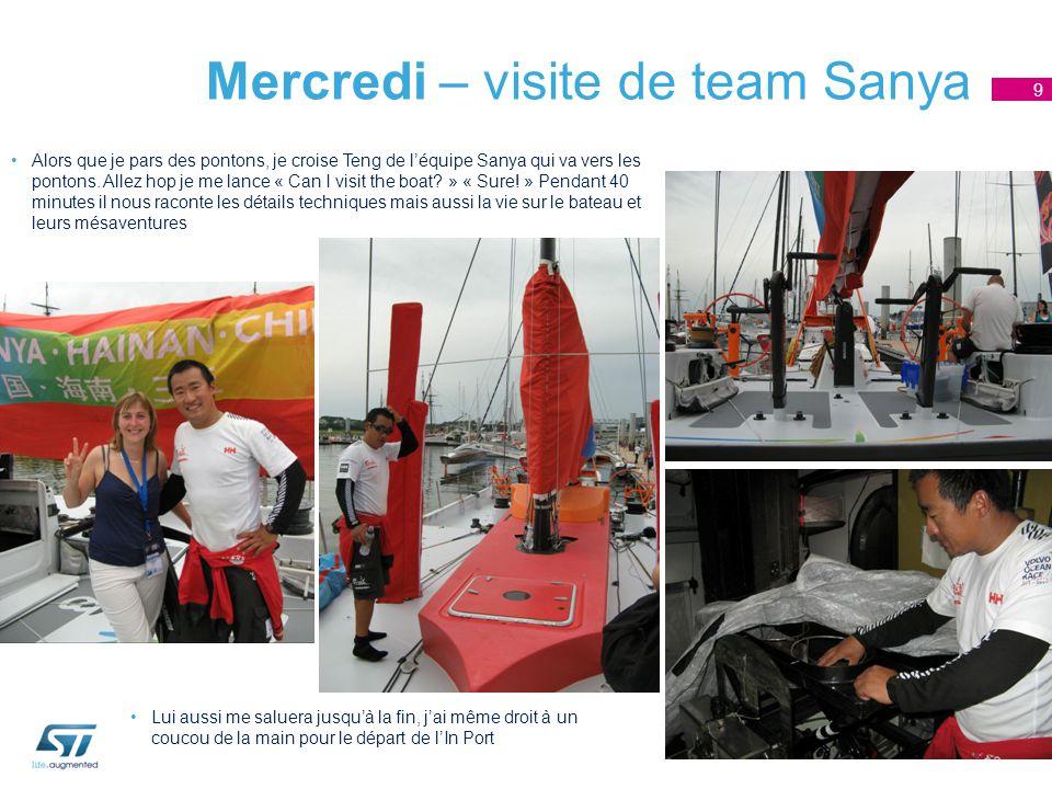 Mercredi – visite de team Sanya Alors que je pars des pontons, je croise Teng de l'équipe Sanya qui va vers les pontons.