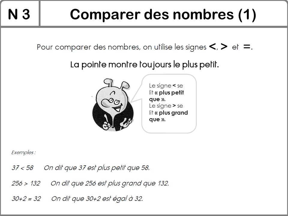 N 3Comparer des nombres (1) Le signe < se lit « plus petit que ». Le signe > se lit « plus grand que ».