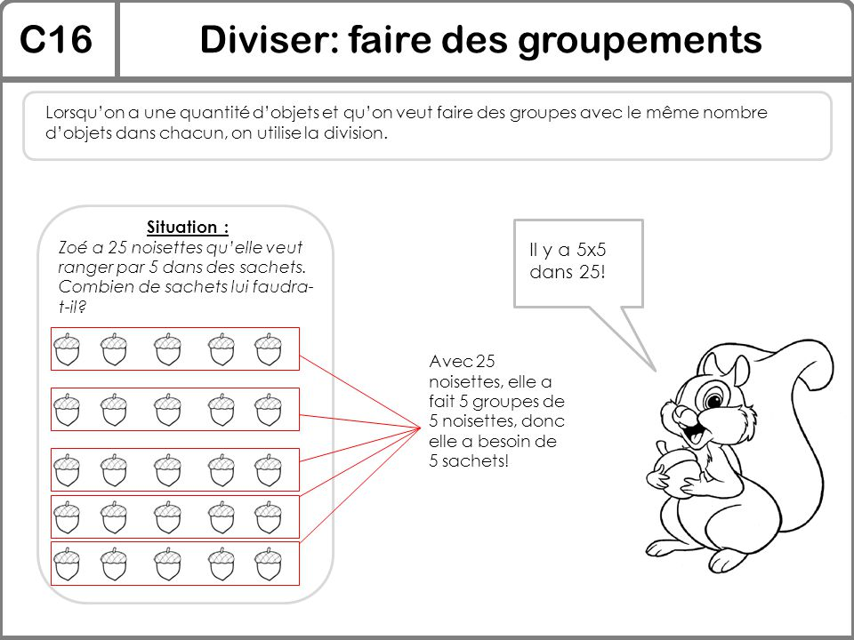 C16Diviser: faire des groupements Lorsqu'on a une quantité d'objets et qu'on veut faire des groupes avec le même nombre d'objets dans chacun, on utili