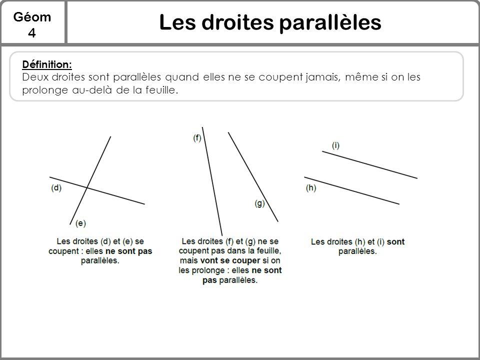 Géom 4 Les droites parallèles Définition: Deux droites sont parallèles quand elles ne se coupent jamais, même si on les prolonge au-delà de la feuille