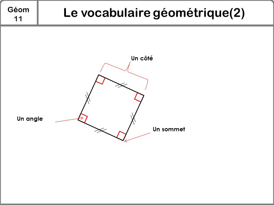 Géom 11 Le vocabulaire géométrique(2) Un côté Un sommet Un angle