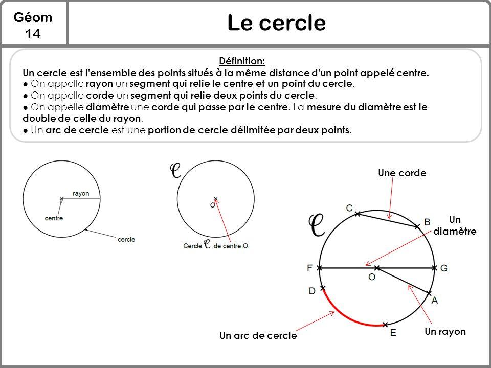 Géom 14 Le cercle Définition: Un cercle est l'ensemble des points situés à la même distance d'un point appelé centre. ● On appelle rayon un segment qu