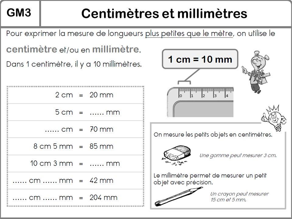 GM3 Centimètres et millimètres