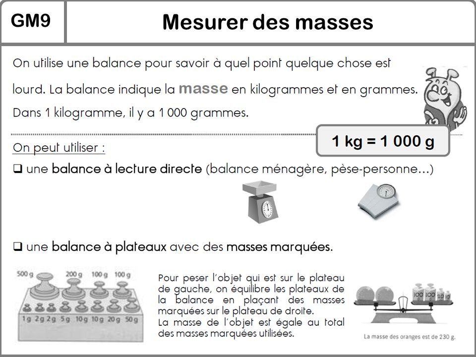 GM9 Mesurer des masses