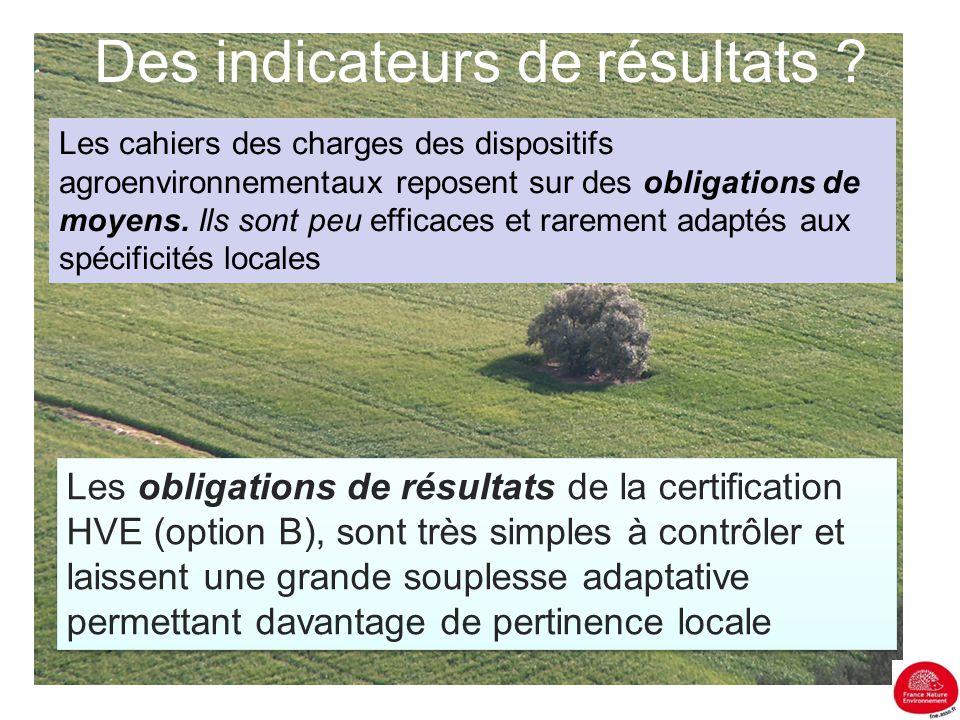 Des indicateurs de résultats ? Les cahiers des charges des dispositifs agroenvironnementaux reposent sur des obligations de moyens. Ils sont peu effic
