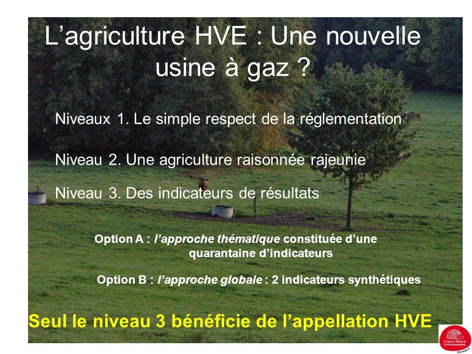 L'agriculture HVE : Une nouvelle usine à gaz ? Niveaux 1. Le simple respect de la réglementation Niveau 2. Une agriculture raisonnée rajeunie Niveau 3