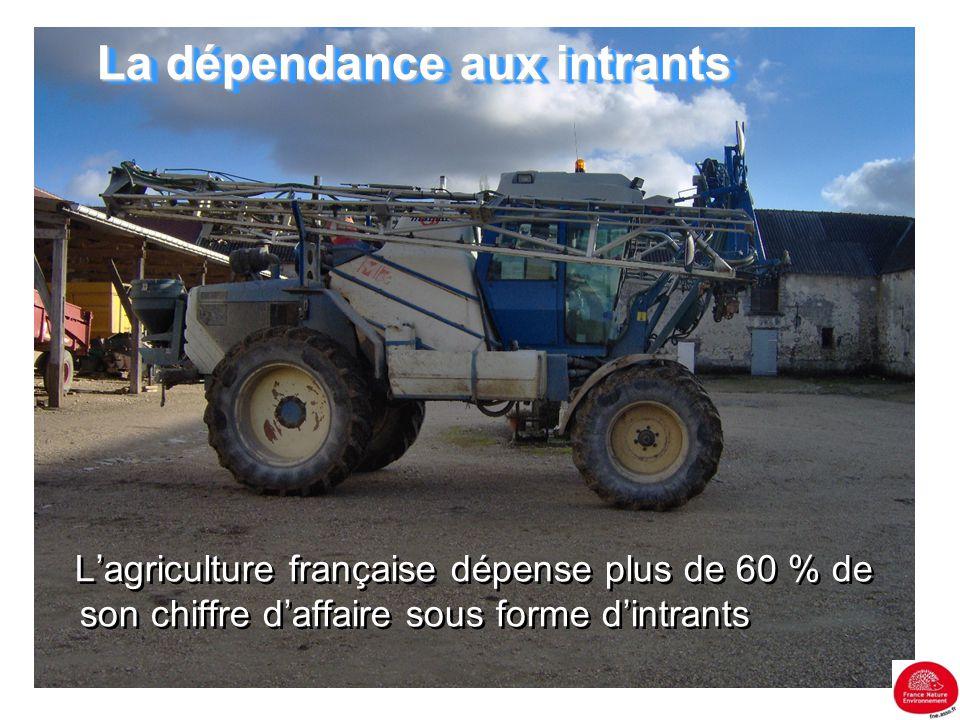 La dépendance aux intrants L'agriculture française dépense plus de 60 % de son chiffre d'affaire sous forme d'intrants