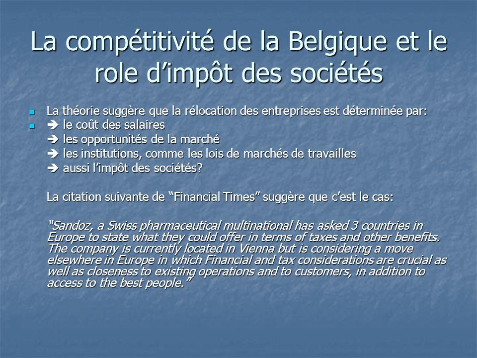 La compétitivité de la Belgique et le role d'impôt des sociétés La théorie suggère que la rélocation des entreprises est déterminée par: La théorie su