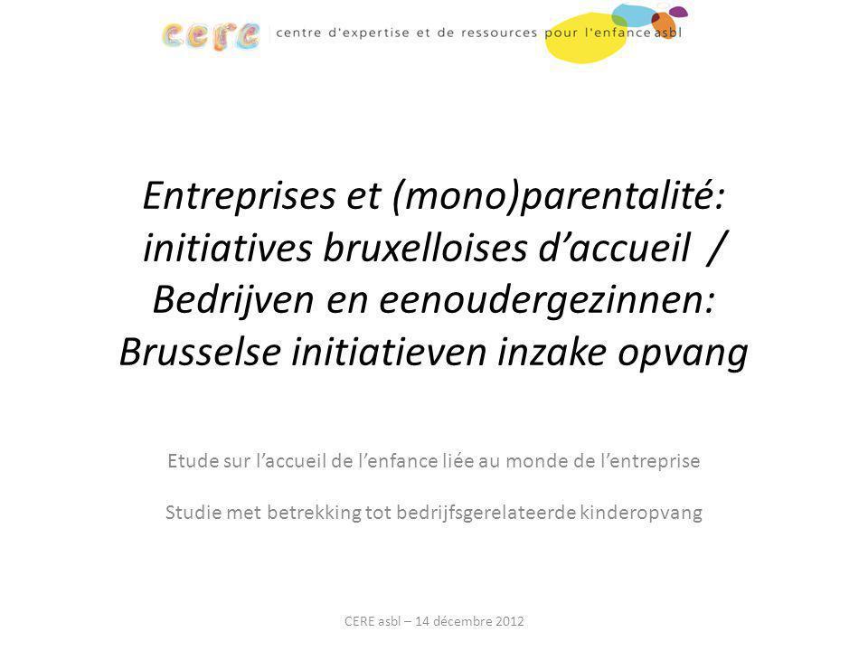 Entreprises et (mono)parentalité: initiatives bruxelloises d'accueil / Bedrijven en eenoudergezinnen: Brusselse initiatieven inzake opvang Etude sur l
