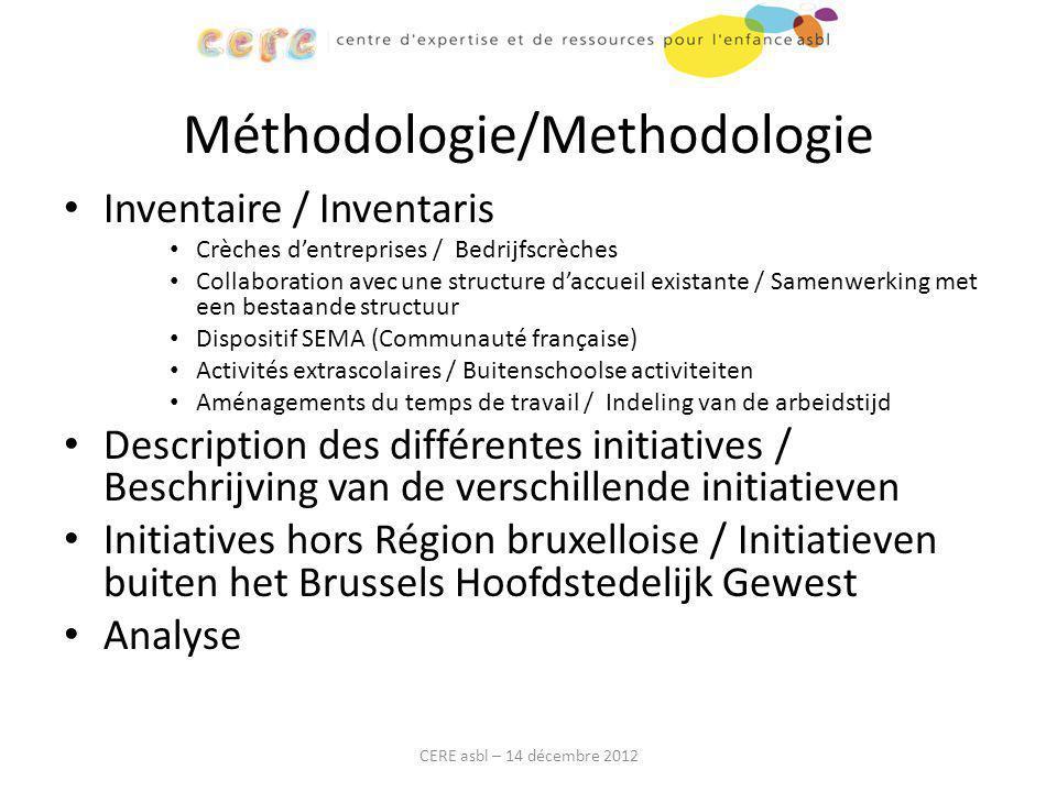 Méthodologie/Methodologie Inventaire / Inventaris Crèches d'entreprises / Bedrijfscrèches Collaboration avec une structure d'accueil existante / Samen