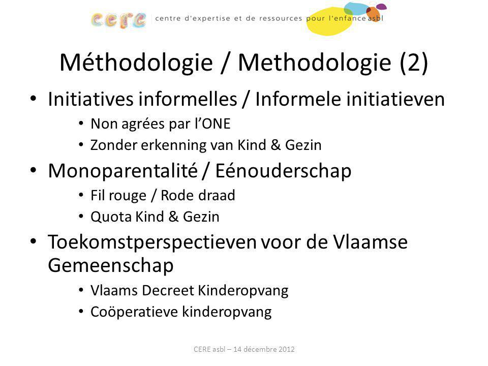 Méthodologie / Methodologie (2) Initiatives informelles / Informele initiatieven Non agrées par l'ONE Zonder erkenning van Kind & Gezin Monoparentalit