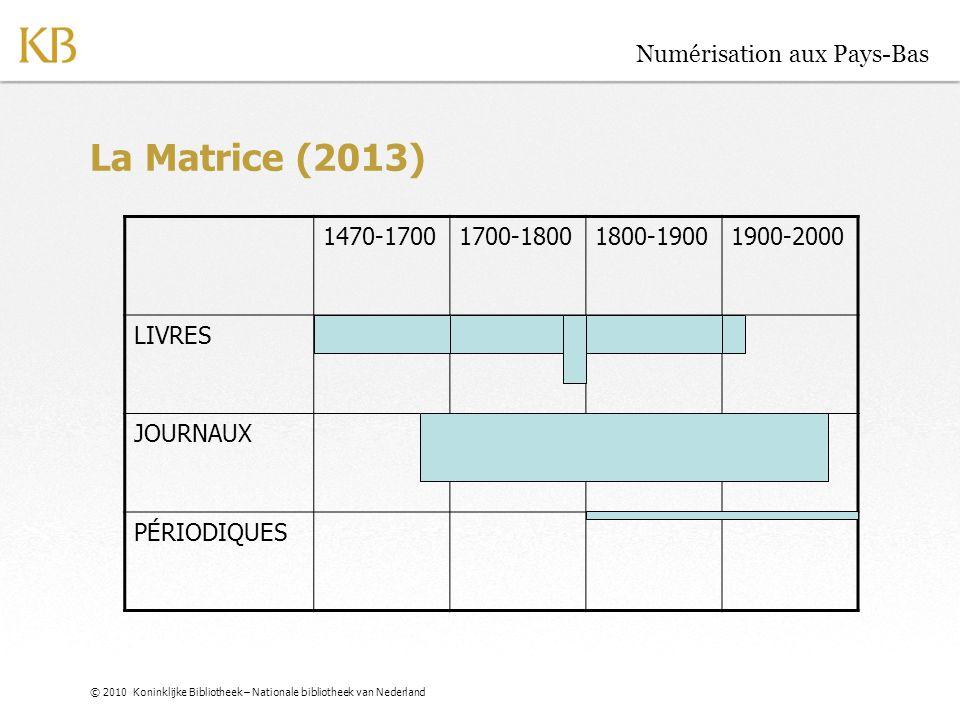 © 2010 Koninklijke Bibliotheek – Nationale bibliotheek van Nederland Numérisation aux Pays-Bas La Matrice (2013) 1470-17001700-18001800-19001900-2000