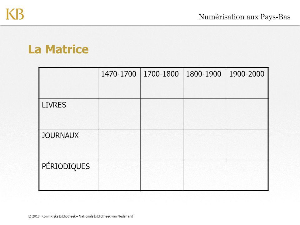 © 2010 Koninklijke Bibliotheek – Nationale bibliotheek van Nederland Numérisation aux Pays-Bas La Matrice (2030) 1470-17001700-18001800-19001900-2000 LIVRES JOURNAUX PÉRIODIQUES