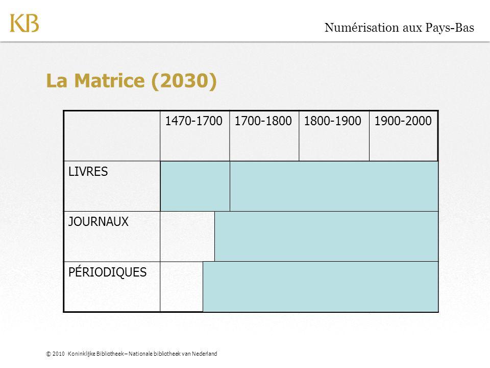 © 2010 Koninklijke Bibliotheek – Nationale bibliotheek van Nederland Numérisation aux Pays-Bas La Matrice (2010) 1470-17001700-18001800-19001900-2000 LIVRES JOURNAUX PÉRIODIQUES