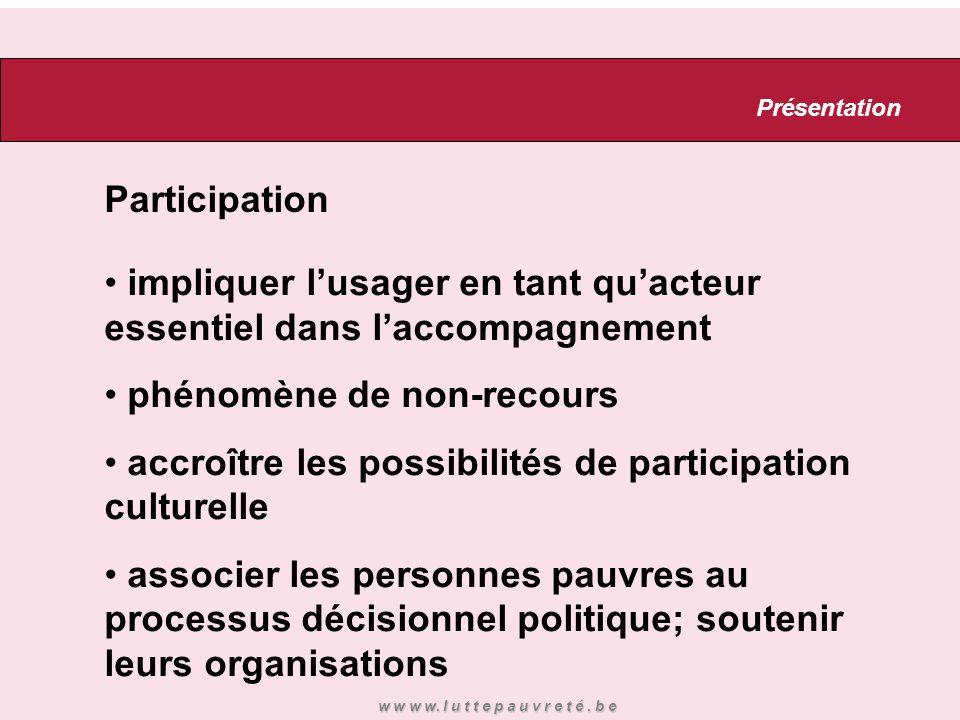 Participation impliquer l'usager en tant qu'acteur essentiel dans l'accompagnement phénomène de non-recours accroître les possibilités de participatio