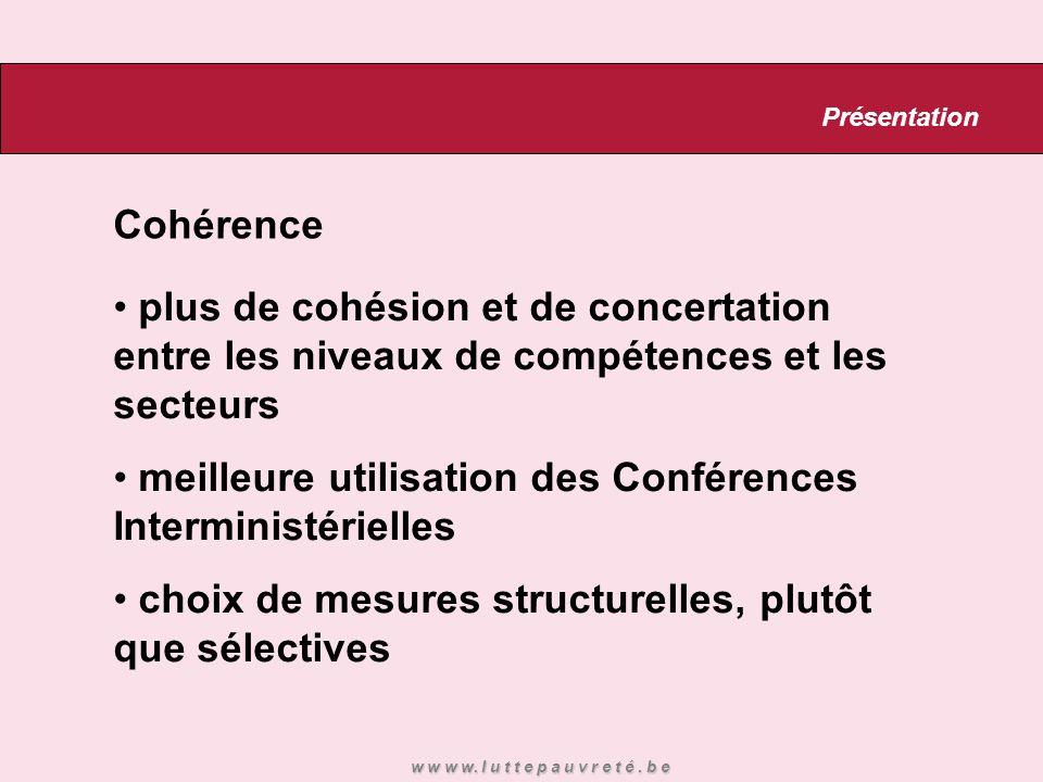 Cohérence plus de cohésion et de concertation entre les niveaux de compétences et les secteurs meilleure utilisation des Conférences Interministérielles choix de mesures structurelles, plutôt que sélectives Présentation w w w w.