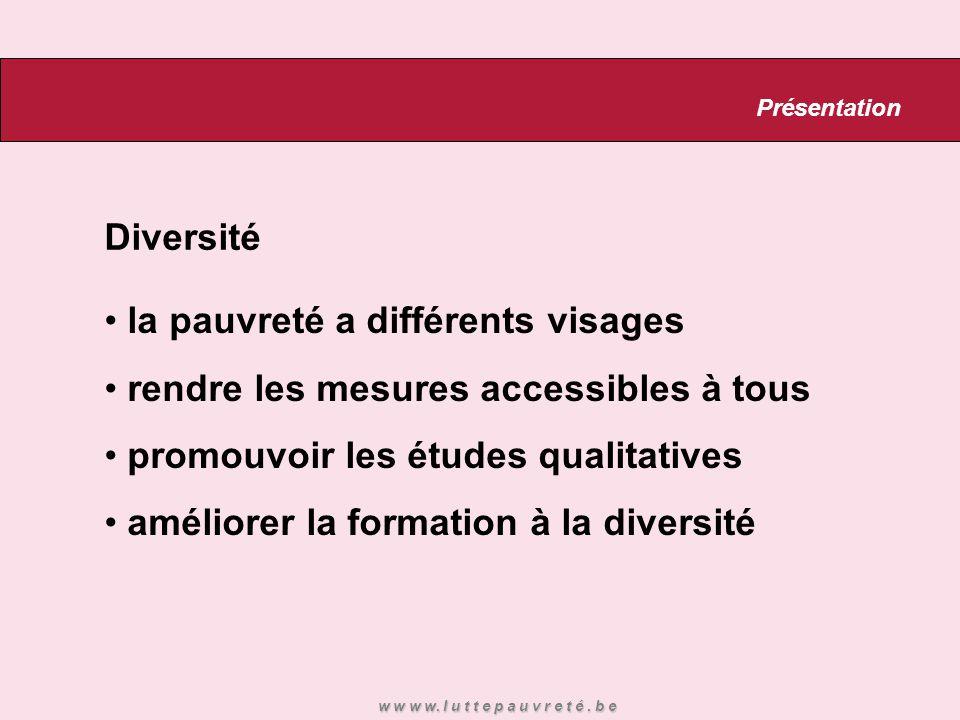 Diversité la pauvreté a différents visages rendre les mesures accessibles à tous promouvoir les études qualitatives améliorer la formation à la diversité Présentation w w w w.