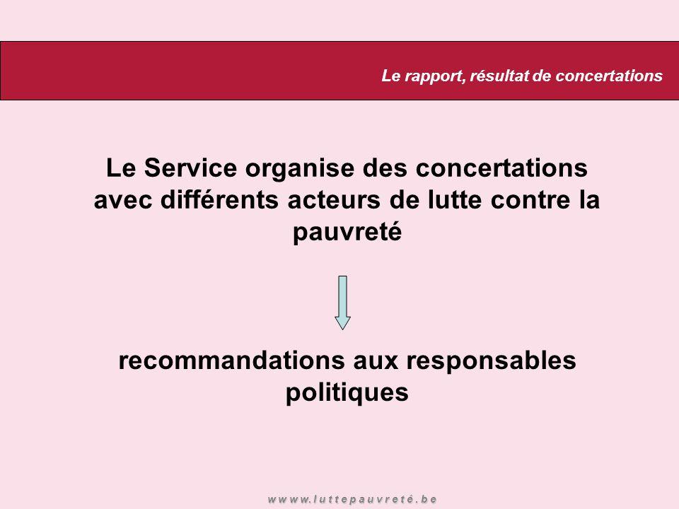 Le Service organise des concertations avec différents acteurs de lutte contre la pauvreté recommandations aux responsables politiques Le rapport, résu