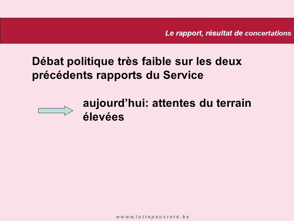 Débat politique très faible sur les deux précédents rapports du Service aujourd'hui: attentes du terrain élevées Le rapport, résultat de concertations