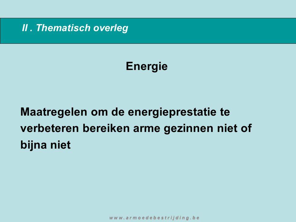 II. Thematisch overleg Energie Maatregelen om de energieprestatie te verbeteren bereiken arme gezinnen niet of bijna niet w w w. a r m o e d e b e s t