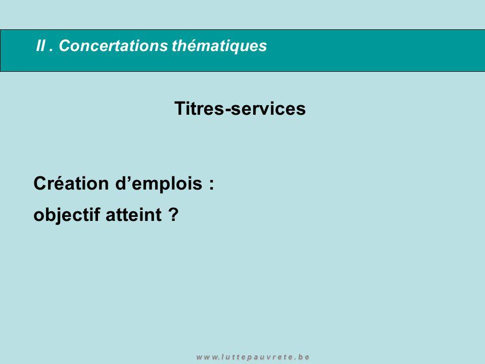 II. Concertations thématiques Titres-services Création d'emplois : objectif atteint ? w w w. l u t t e p a u v r e t e. b e