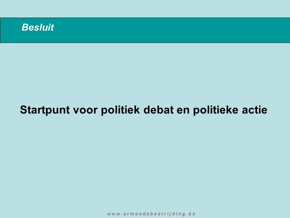Besluit Startpunt voor politiek debat en politieke actie w w w. a r m o e d e b e s t r i j d i n g. b e