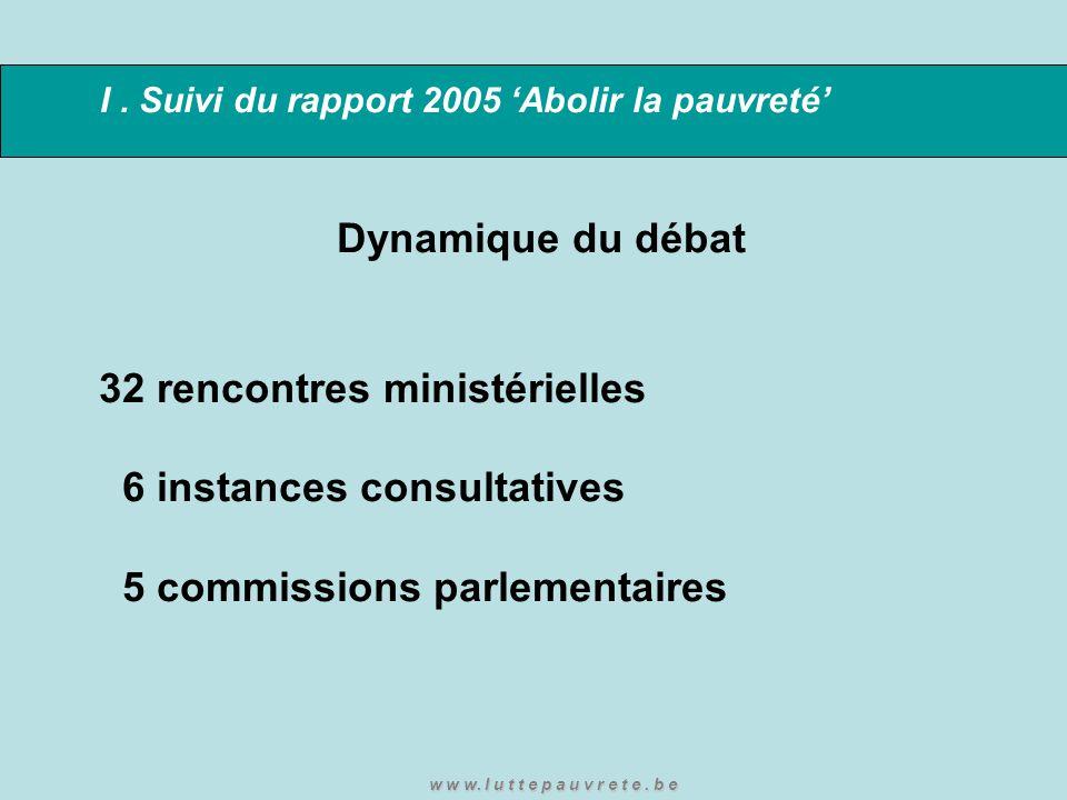 I. Suivi du rapport 2005 'Abolir la pauvreté' Dynamique du débat 32 rencontres ministérielles 6 instances consultatives 5 commissions parlementaires w