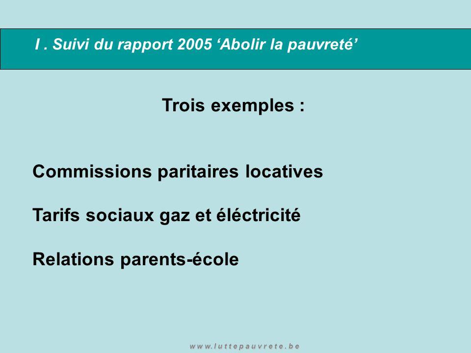 I. Suivi du rapport 2005 'Abolir la pauvreté' Trois exemples : Commissions paritaires locatives Tarifs sociaux gaz et éléctricité Relations parents-éc