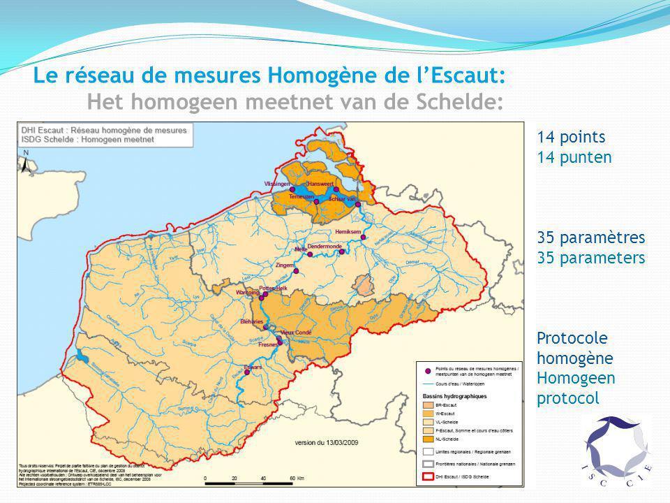 Le réseau de mesures Homogène de l'Escaut: Het homogeen meetnet van de Schelde: 14 points 14 punten 35 paramètres 35 parameters Protocole homogène Homogeen protocol