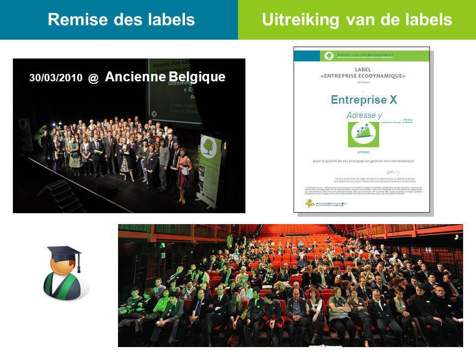 Remise des labels 30/03/2010 @ Ancienne Belgique Uitreiking van de labels Entreprise X Adresse y 31/03/2009 @ Hotel NH Grand Sablon****