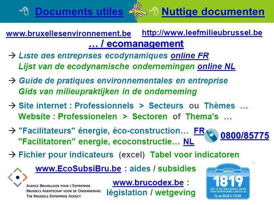  Liste des entreprises écodynamiques online FRonline FR Lijst van de ecodynamische ondernemingen online NLonline NL  Guide de pratiques environnemen