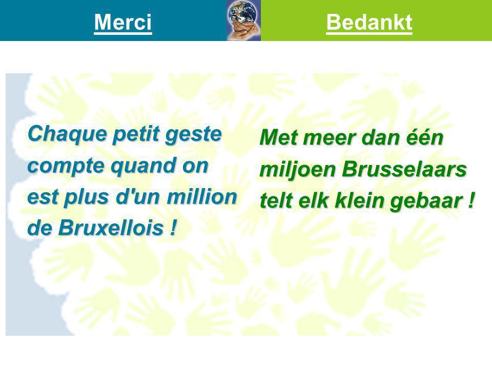 Chaque petit geste compte quand on est plus d'un million de Bruxellois ! Met meer dan één miljoen Brusselaars telt elk klein gebaar ! MerciBedankt