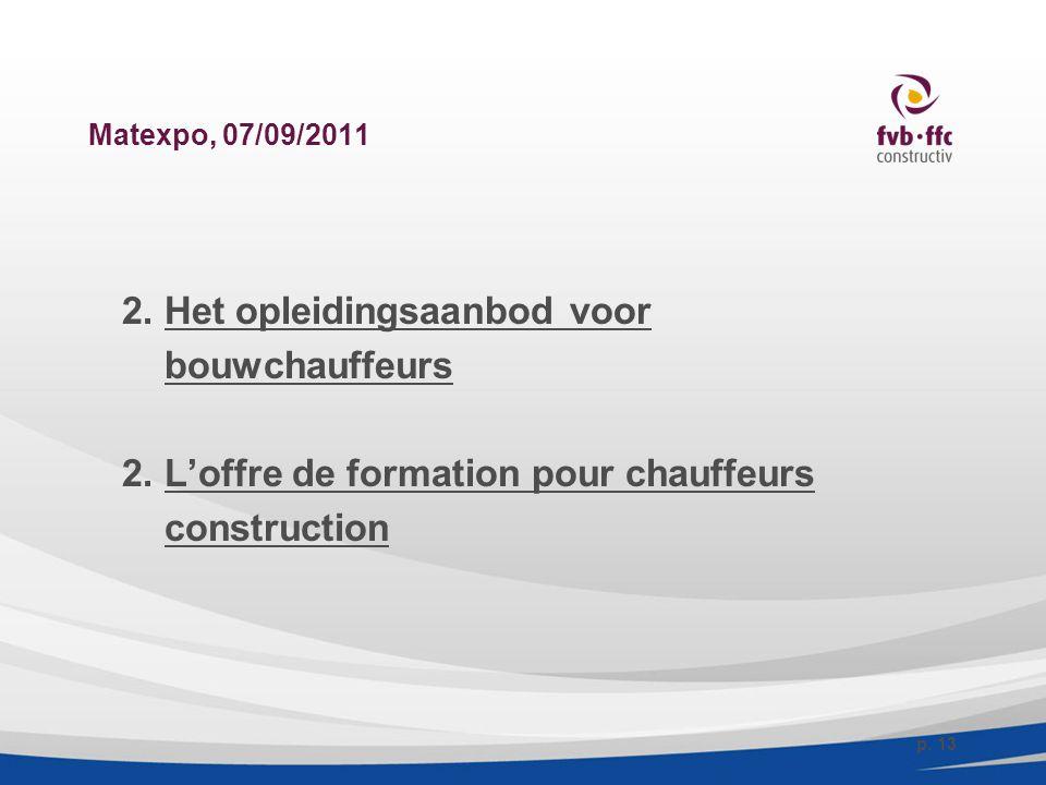 Matexpo, 07/09/2011 2. Het opleidingsaanbod voor bouwchauffeurs 2. L'offre de formation pour chauffeurs construction p. 13