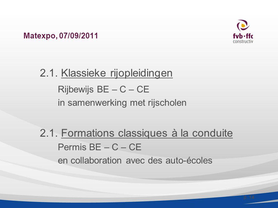 Matexpo, 07/09/2011 2.1. Klassieke rijopleidingen Rijbewijs BE – C – CE in samenwerking met rijscholen 2.1. Formations classiques à la conduite Permis