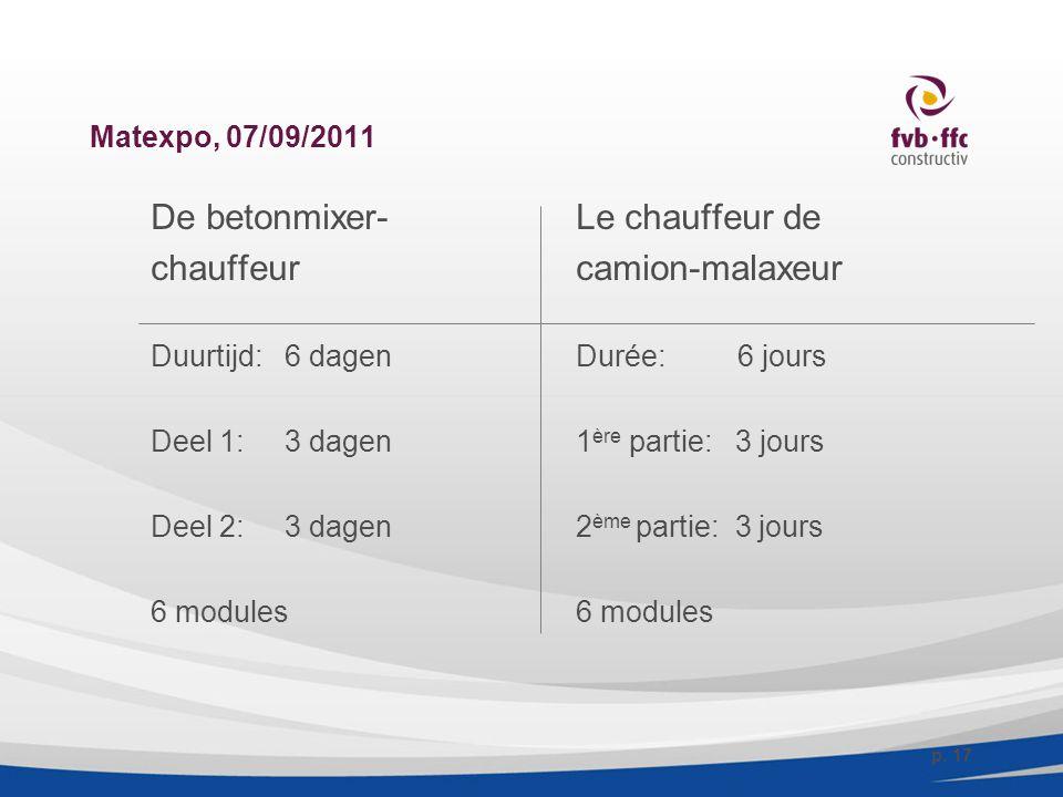 Matexpo, 07/09/2011 De betonmixer-Le chauffeur de chauffeurcamion-malaxeur Duurtijd: 6 dagenDurée: 6 jours Deel 1: 3 dagen1 ère partie: 3 jours Deel 2: 3 dagen2 ème partie: 3 jours6 modules p.