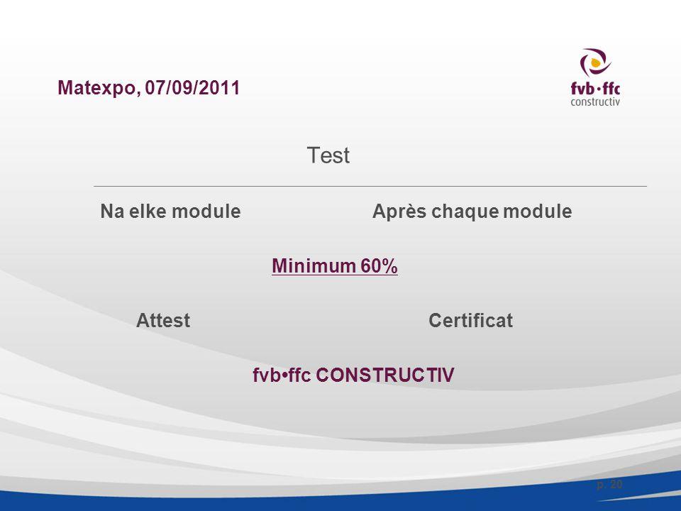 Matexpo, 07/09/2011 Test Na elke moduleAprès chaque module Minimum 60% Attest Certificat fvbffc CONSTRUCTIV p.
