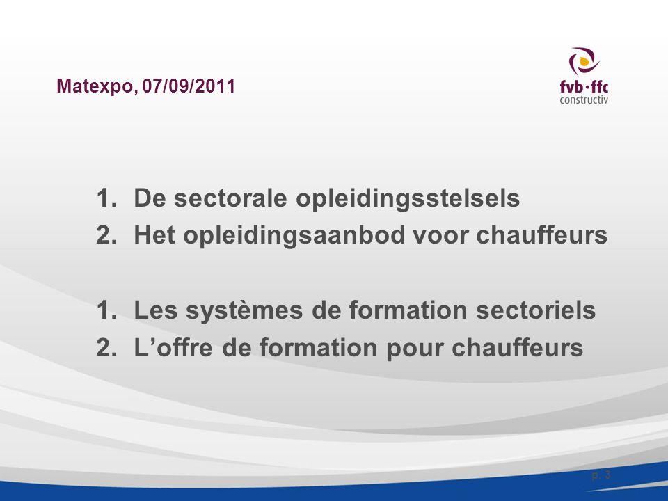 Matexpo, 07/09/2011 1.De sectorale opleidingsstelsels 2.Het opleidingsaanbod voor chauffeurs 1.Les systèmes de formation sectoriels 2.L'offre de forma