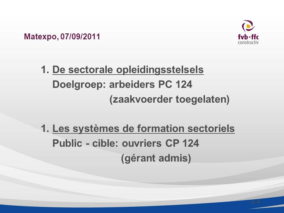 Matexpo, 07/09/2011 1. De sectorale opleidingsstelsels Doelgroep: arbeiders PC 124 (zaakvoerder toegelaten) 1. Les systèmes de formation sectoriels Pu