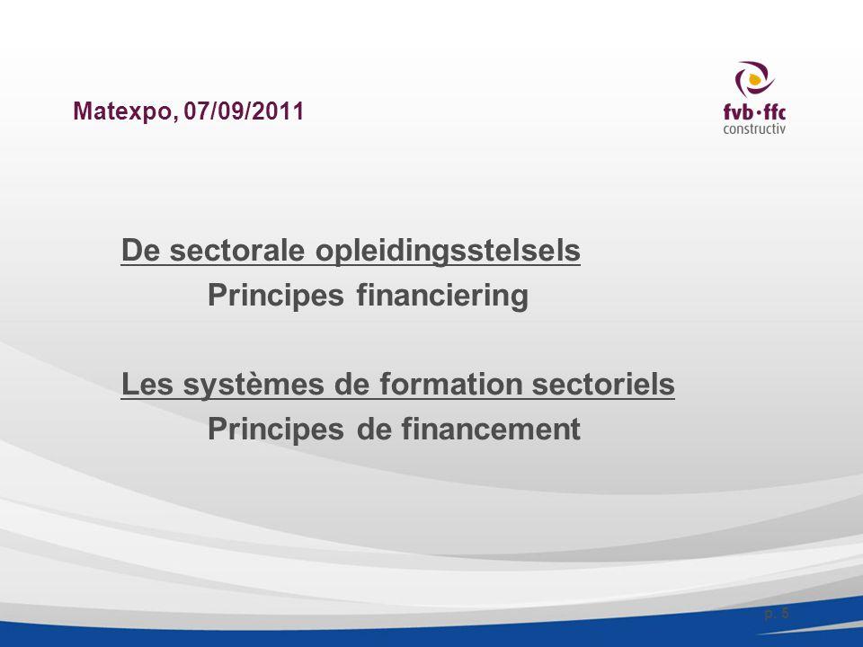 Matexpo, 07/09/2011 De sectorale opleidingsstelsels Principes financiering Les systèmes de formation sectoriels Principes de financement p.