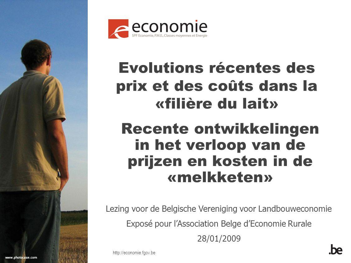 http://economie.fgov.be Comportement récent des prix du lait demi-écrémé («premier prix») – modifications en eurocents par rapport à janvier 2007 Prix entre la laiterie et la chaîne de distribution (1)Prix à la consommation (2) Fév/0700,2 mrt/0700,1 avr/0700 mai/0700 juin/072,22,3 juil/074,96,3 août/076,36,8 sep/0710,58,5 oct/0717,716,2 nov/0717,717,5 dec/0717,717.8 jan/0817,717,9 fev/0817,717,8 mrt/0817,817,7 avr/0816,618,1 mai/088,614,6 juin/087,812,4 juil/087,812,5 août/087,512,3 sep/087,512,3 oct/087,5 Source: (1) Enquête spéciale menée par le SPF Economie dans l'industrie laitière et la distribution - (2) Indice des prix à la consommation