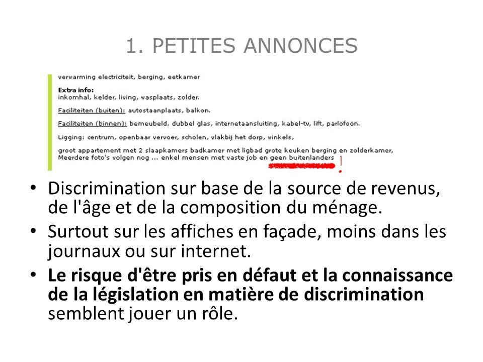 1. PETITES ANNONCES Discrimination sur base de la source de revenus, de l'âge et de la composition du ménage. Surtout sur les affiches en façade, moin