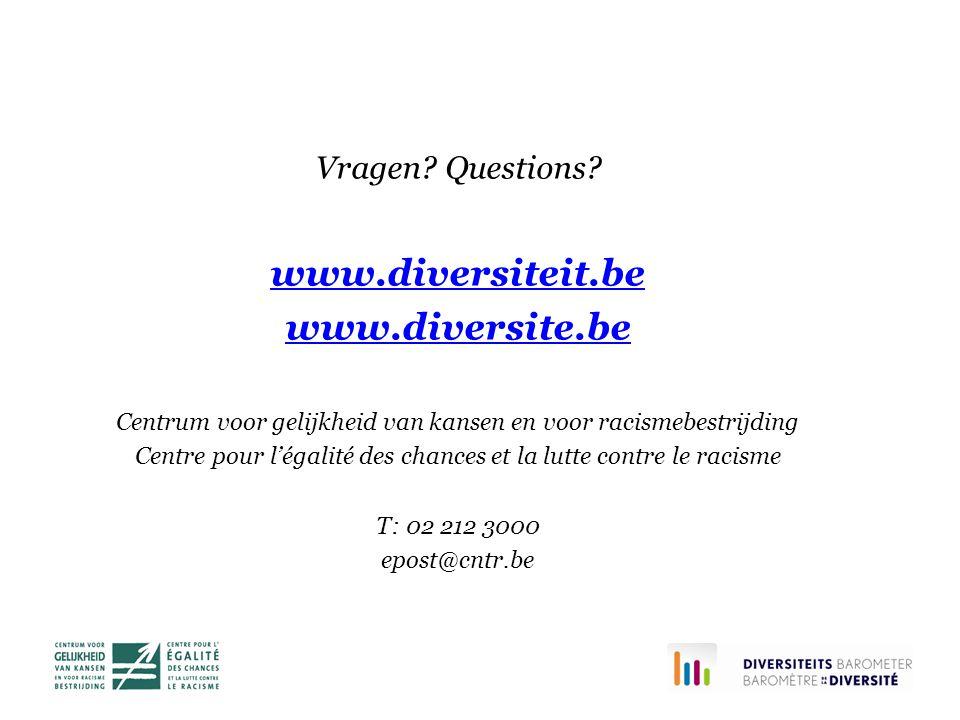 Vragen? Questions? www.diversiteit.be www.diversite.be Centrum voor gelijkheid van kansen en voor racismebestrijding Centre pour l'égalité des chances