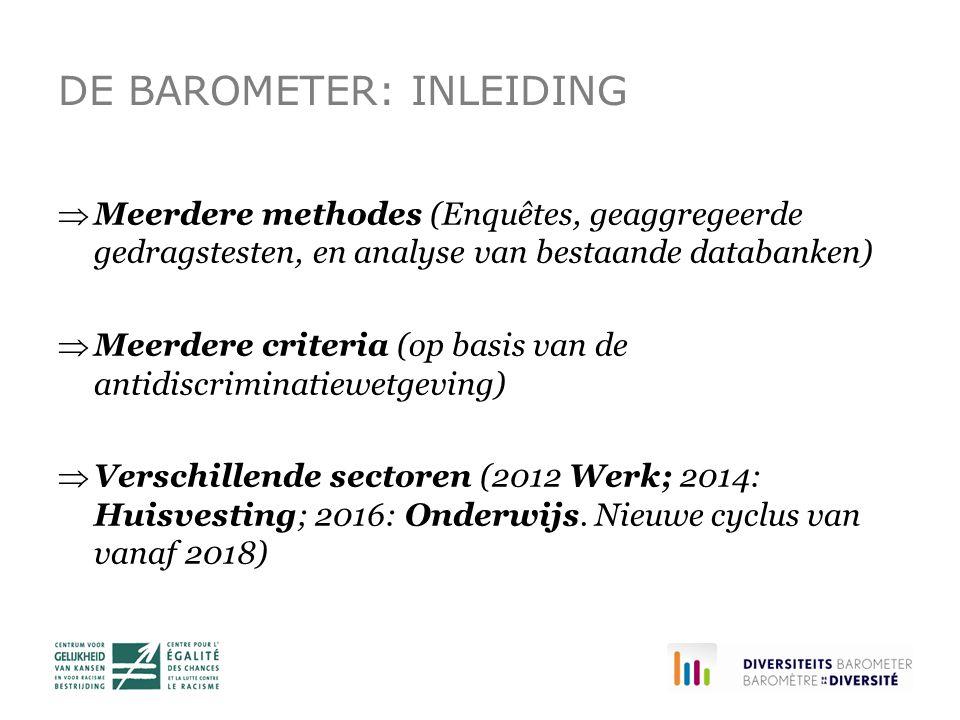 DE BAROMETER: INLEIDING  Meerdere methodes (Enquêtes, geaggregeerde gedragstesten, en analyse van bestaande databanken)  Meerdere criteria (op basis van de antidiscriminatiewetgeving)  Verschillende sectoren (2012 Werk; 2014: Huisvesting; 2016: Onderwijs.