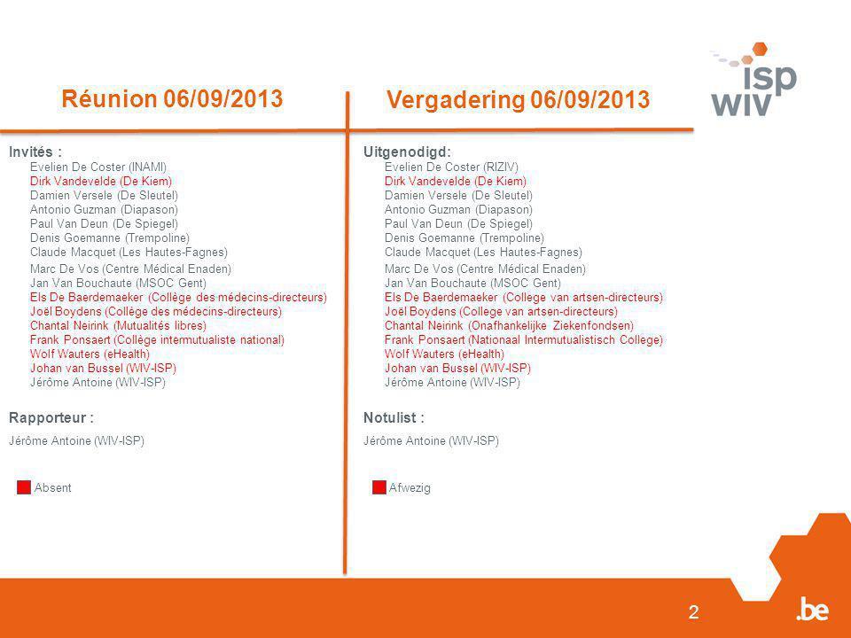 2 Réunion 06/09/2013 Vergadering 06/09/2013 Invités : Evelien De Coster (INAMI) Dirk Vandevelde (De Kiem) Damien Versele (De Sleutel) Antonio Guzman (