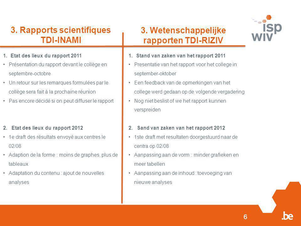 6 3. Rapports scientifiques TDI-INAMI 3. Wetenschappelijke rapporten TDI-RIZIV 1.Etat des lieux du rapport 2011 Présentation du rapport devant le coll