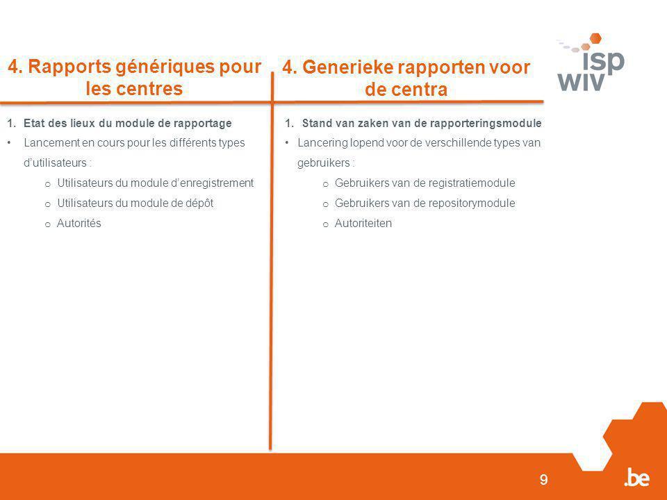 9 4. Rapports génériques pour les centres 4. Generieke rapporten voor de centra 1.Etat des lieux du module de rapportage Lancement en cours pour les d