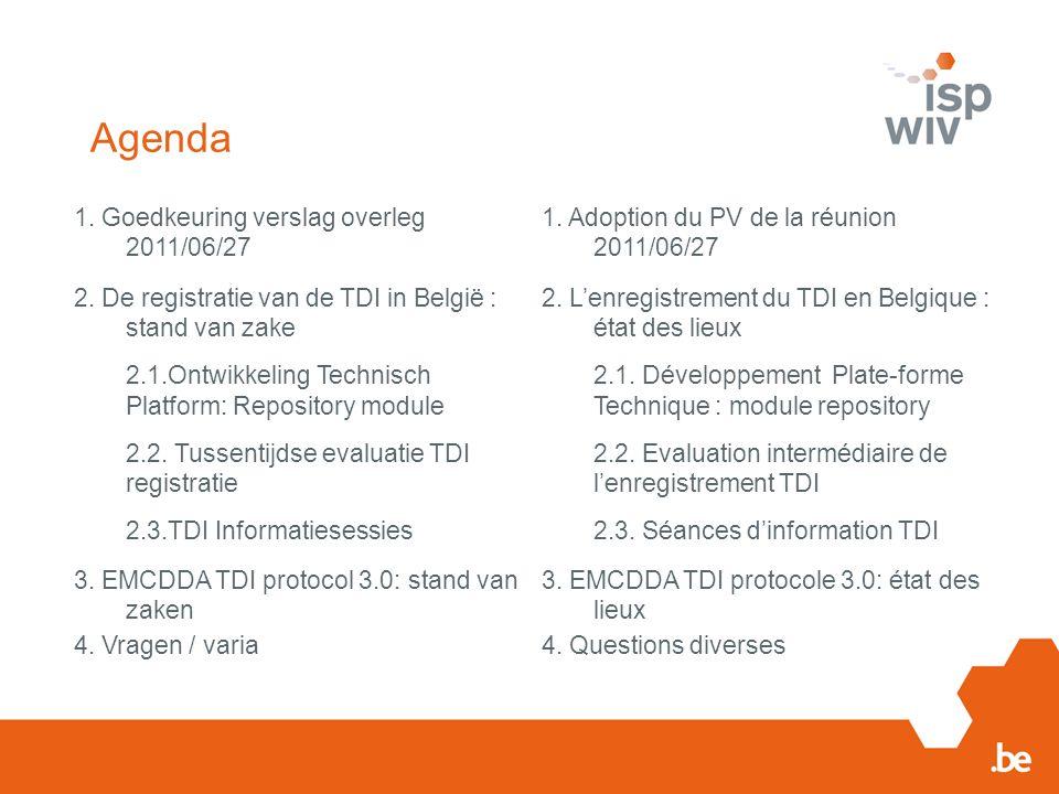 Agenda 1. Goedkeuring verslag overleg 2011/06/27 1. Adoption du PV de la réunion 2011/06/27 2. De registratie van de TDI in België : stand van zake 2.